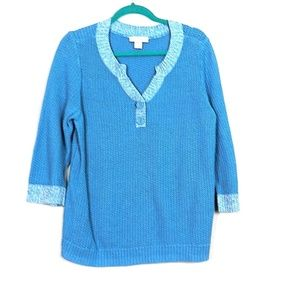 Christopher & Banks Blue XL  3/4 Sleeve Sweater